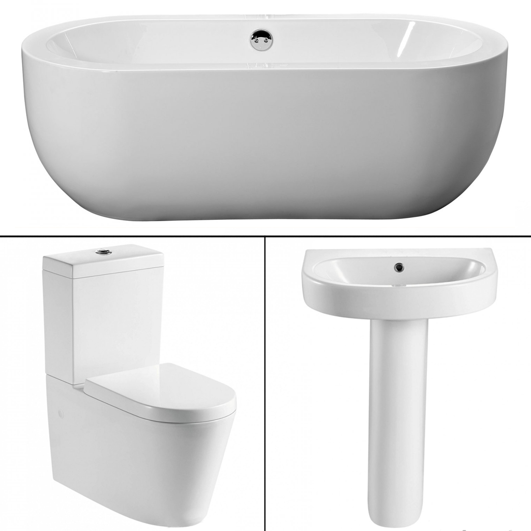 Modern full freestanding bath suite toilet basin for Full bath set