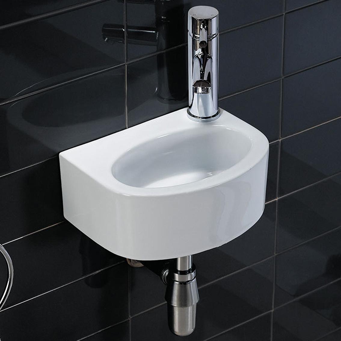 Small Basin Sink : ... -Gloss-Small-Cloakroom-Wall-Mounted-Wash-Basin-Single-Hole-Sink-CA63