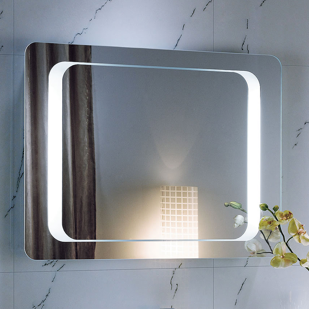 800 x 600 Backlit Bathroom Mirror Wall Mounted Demister