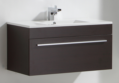 MV85   Dark Wood 900mm Cabinet with Mounted Basin. Wall Hung Wood Bathroom Sink Basin Cabinet Vanity Unit   eBay