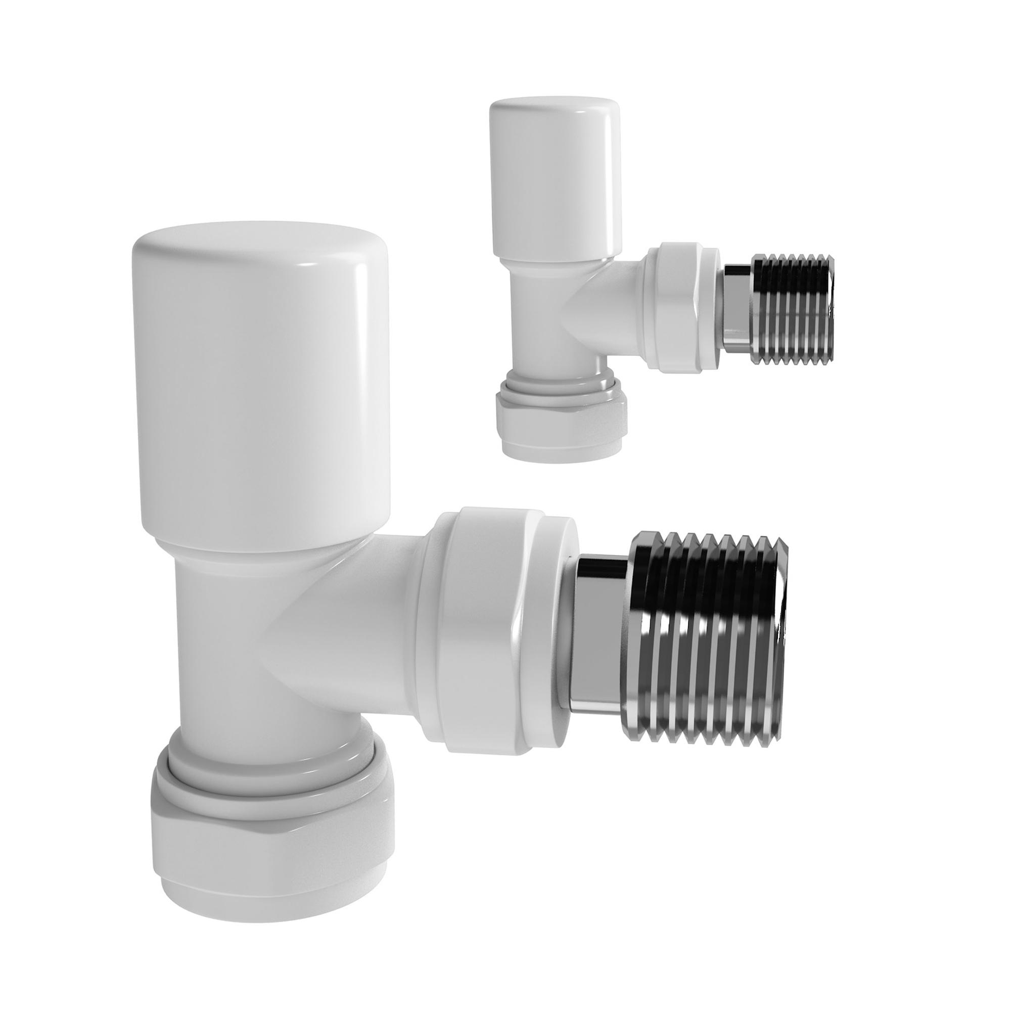 modern angled white radiator valves bathroom rad heated. Black Bedroom Furniture Sets. Home Design Ideas
