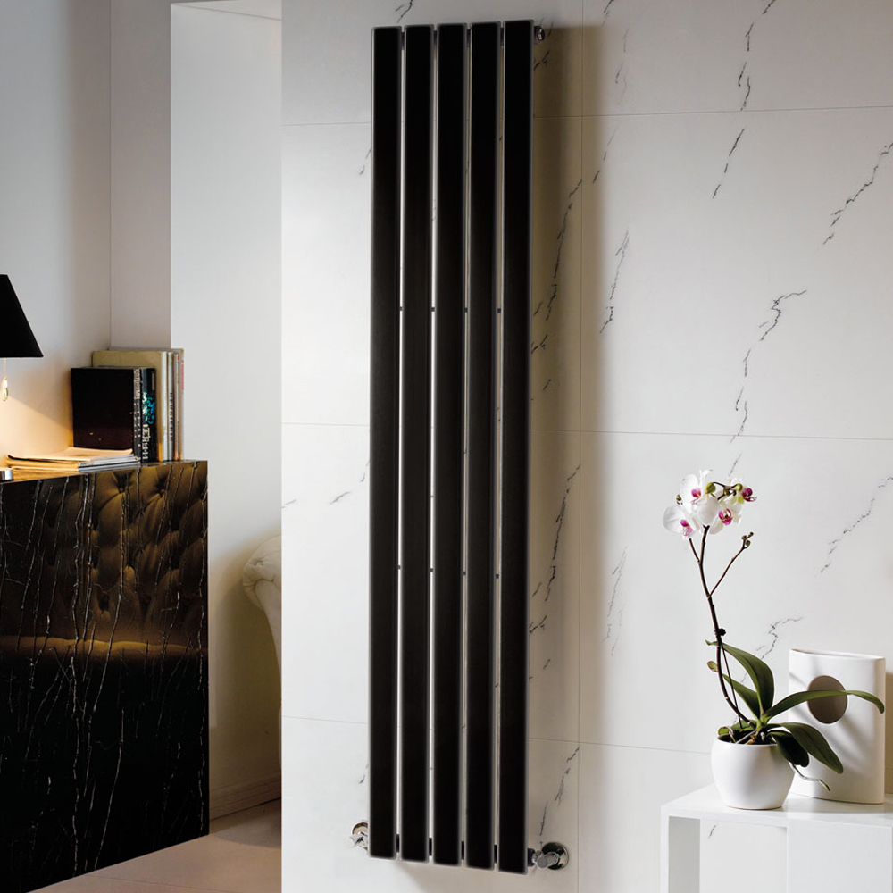 Heated Black Designer Vertical Column Radiators 1800mm