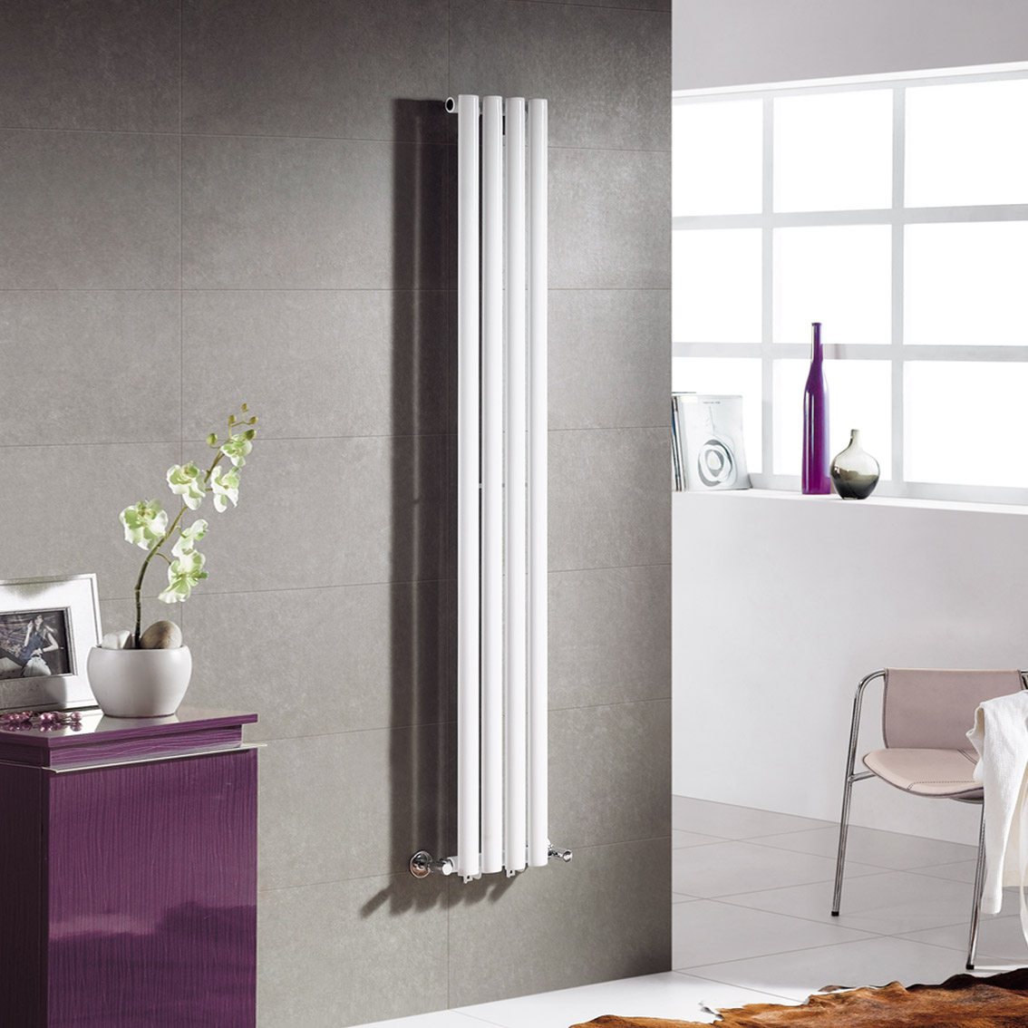 Designer-Column-Radiator-Heated-Vertical-Tall-Modern-Rail-Rad-White-RC31