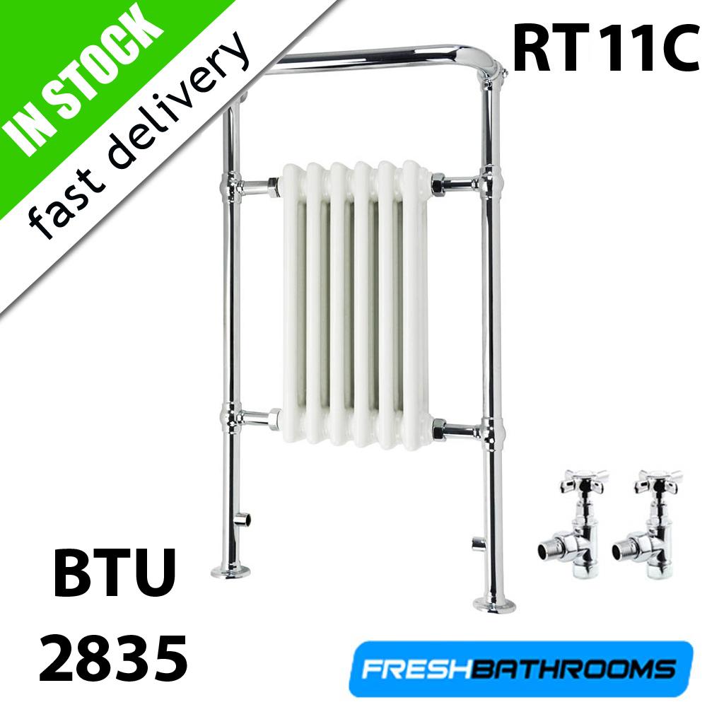 Traditional Heated Towel Rail Column Radiator White: Traditional Towel Rail Radiator Valves Cast Iron Heated