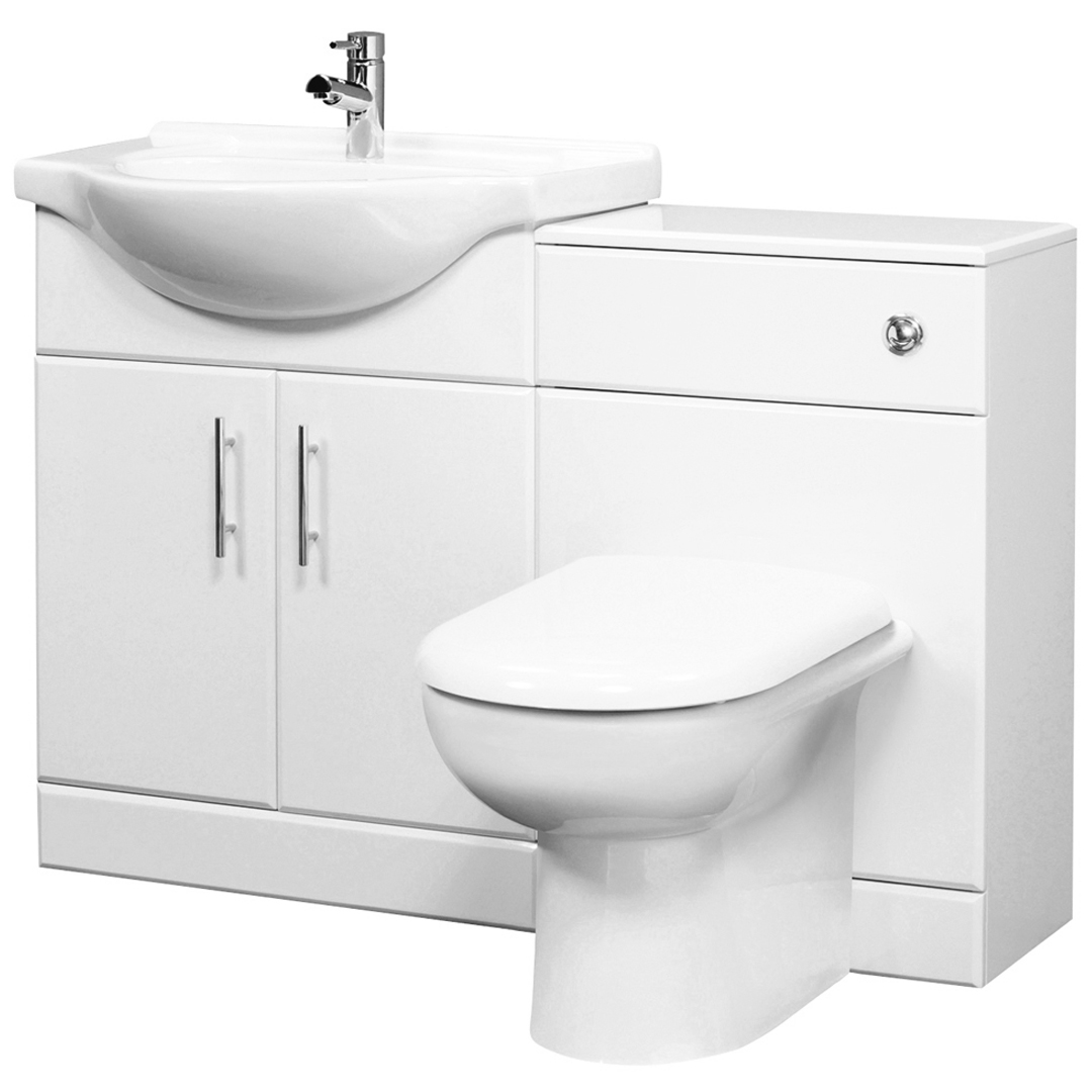 White Gloss Bathroom Vanity Cabinet Furniture Unit WC Toilet Basin Sink HGW