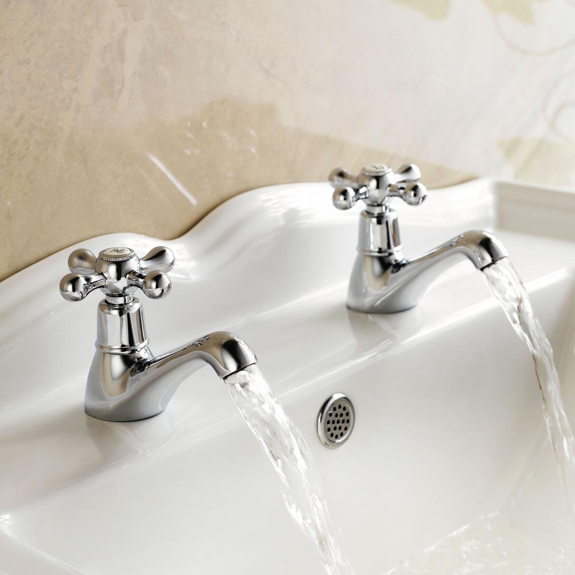 Traditional Cross Head Chrome Twin Bathroom Basin Sink ...