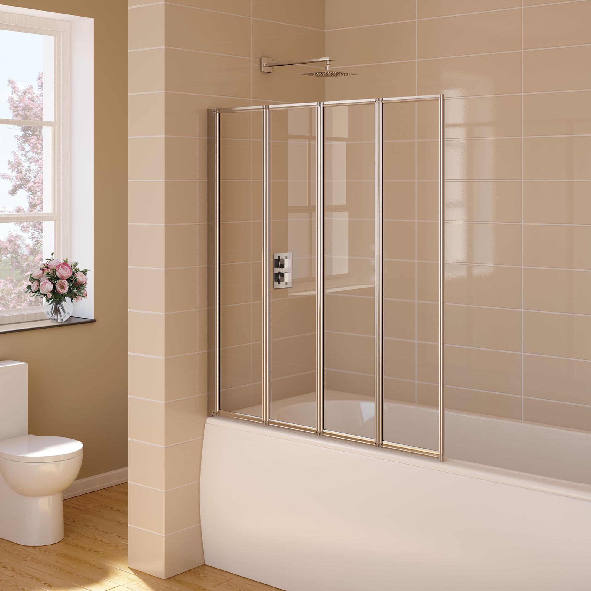 1000mm folding bath shower screen modern designer glass aqua 6 splash guard 300mm with rail fbs0180aqu