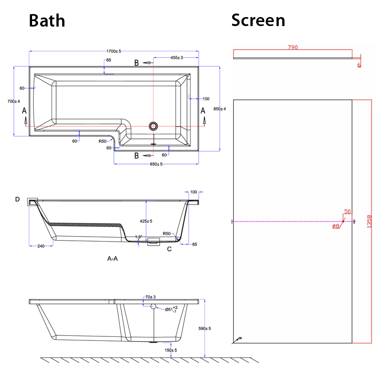 L Shape Bath Close Coupled Toilet Basin Sink Complete