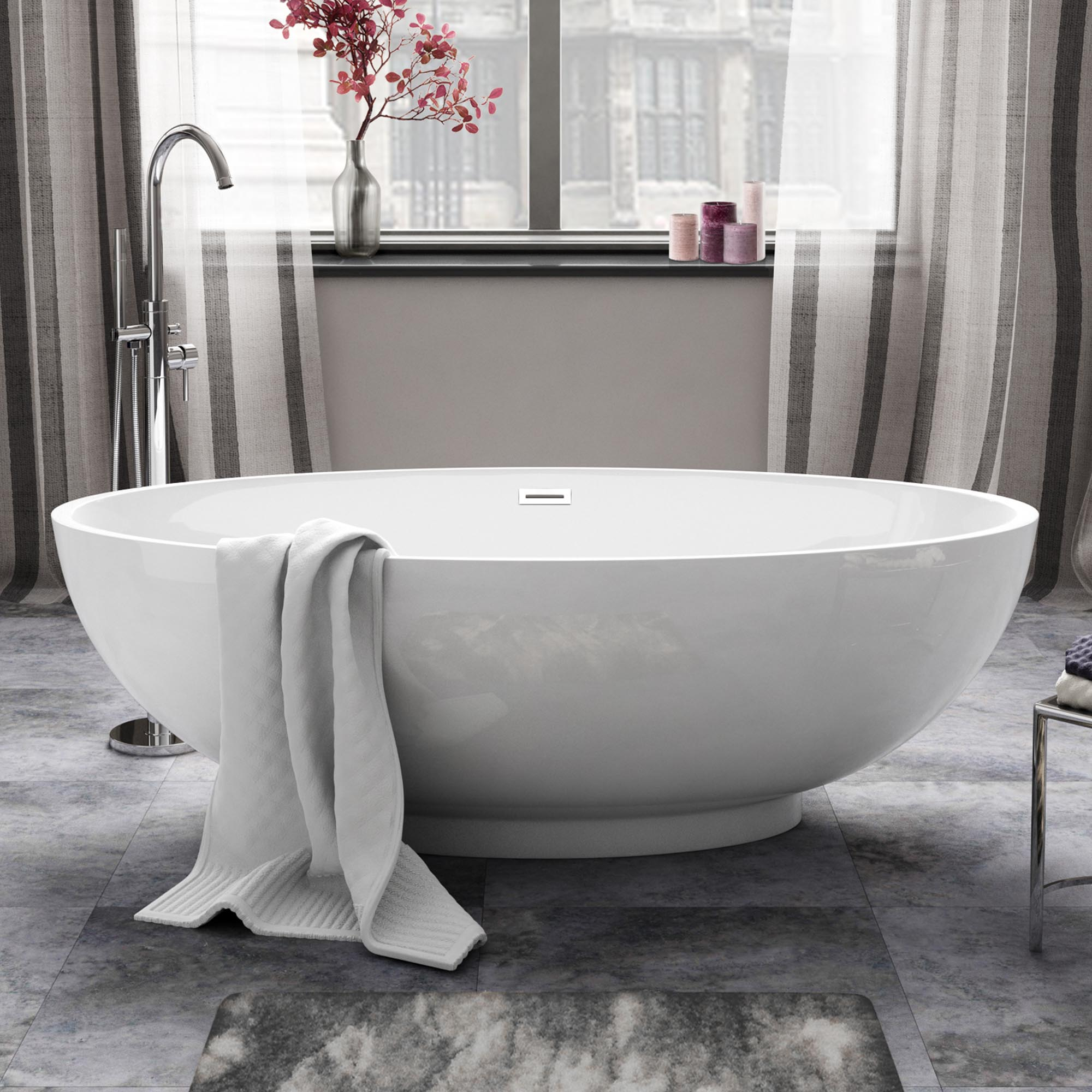 Designer bathroom freestanding modern roll top baths ebay for Oversized baths