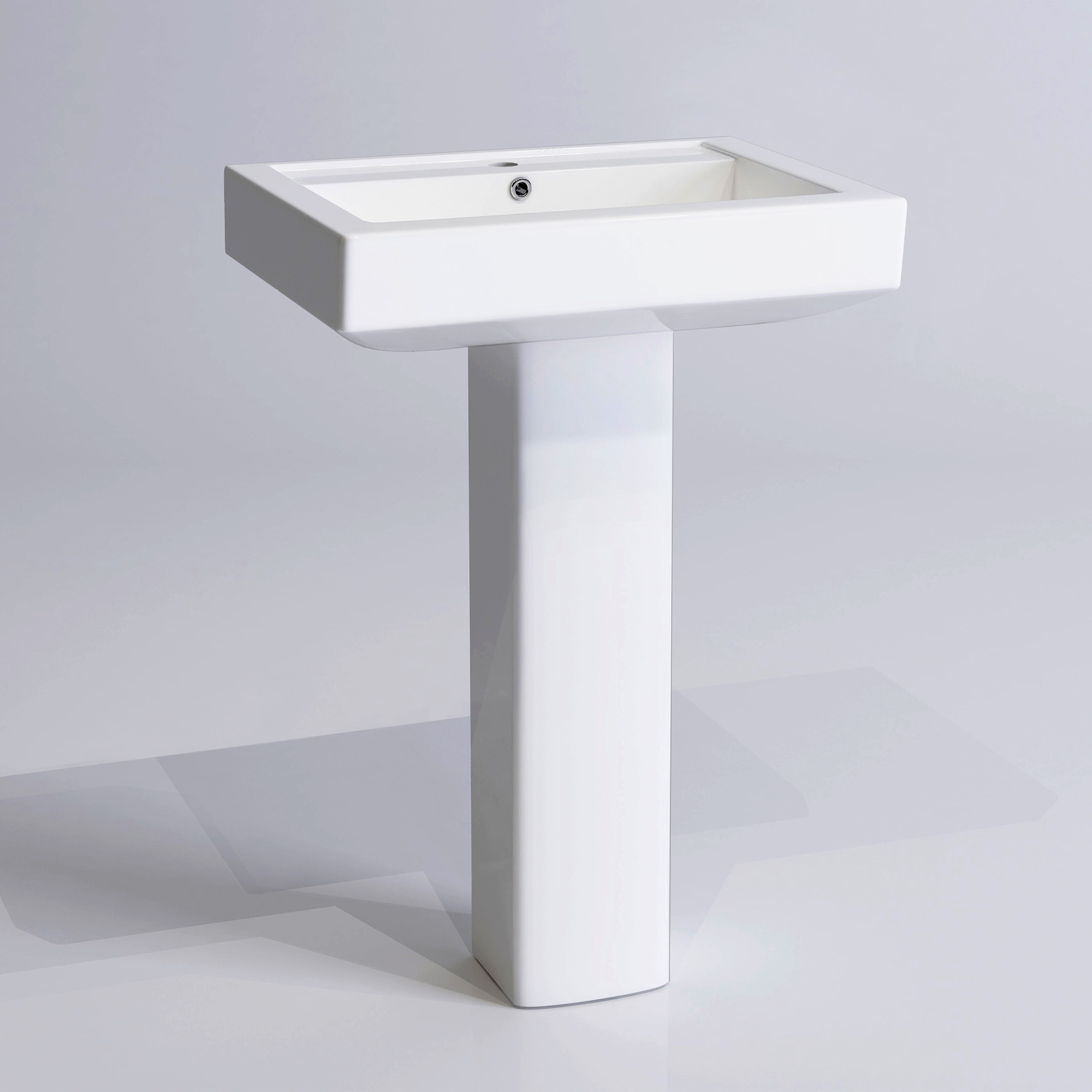 Modern Ceramic Square Basin And Pedestal Single Tap Hole
