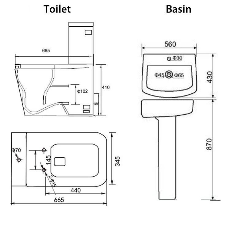 L Shape Bath Close Coupled Toilet Basin Sink Complete ...