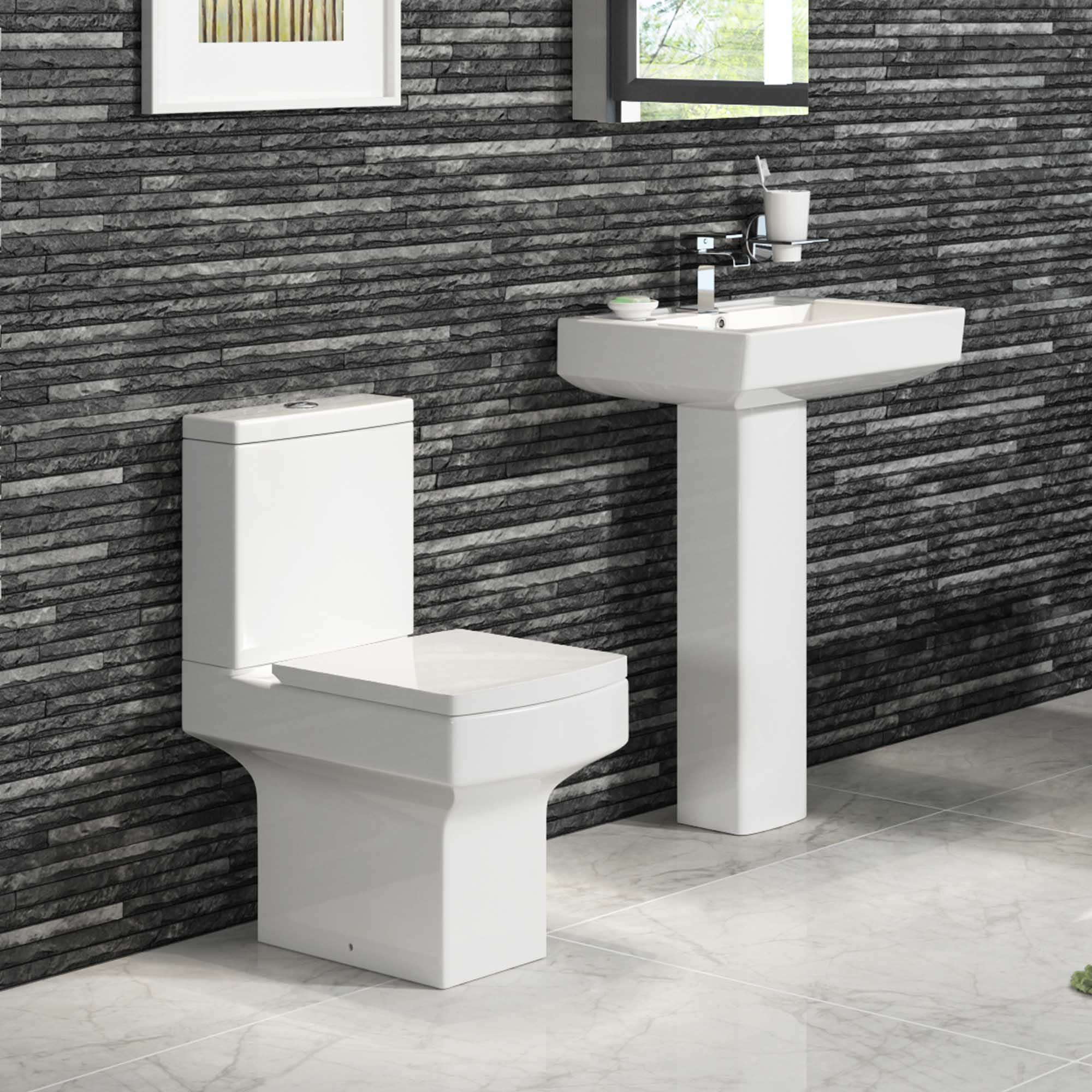 modern close coupled square toilet basin pedestal complete bathroom suite ebay. Black Bedroom Furniture Sets. Home Design Ideas