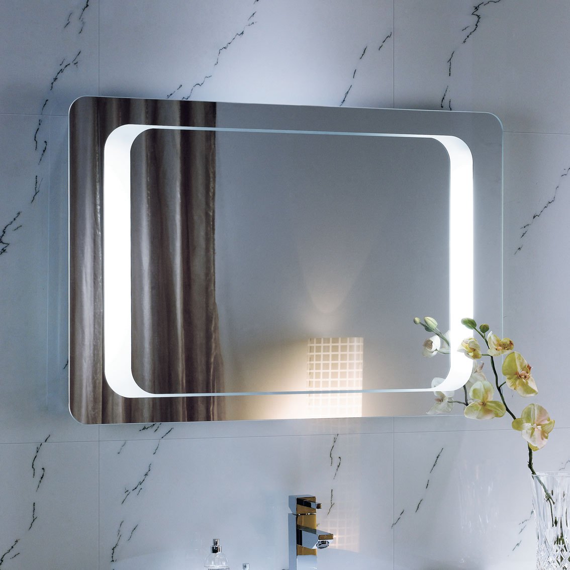 600 x 900 backlit bathroom mirror wall mounted demister