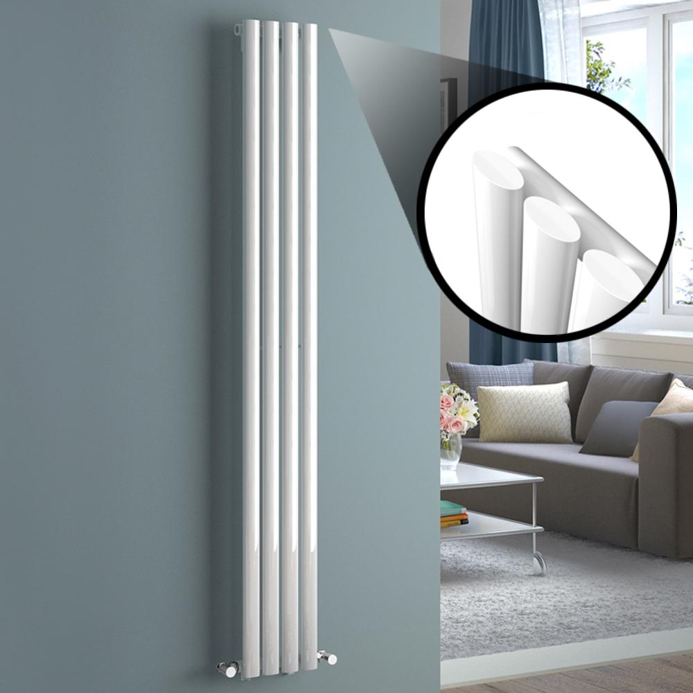 650x400mm Chrome Straight Rail Ladder Towel Radiator - Natasha