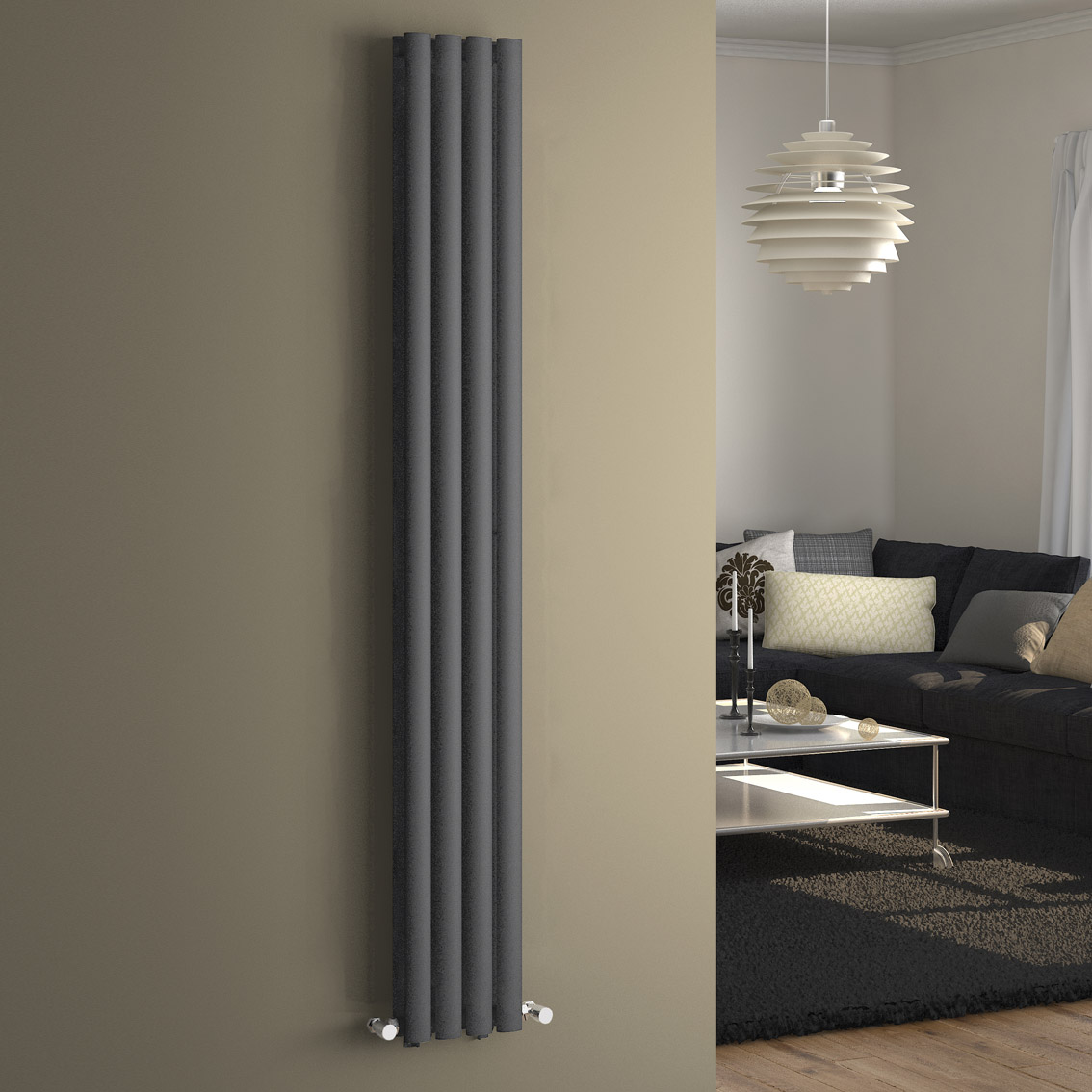 1600x240mm Anthracite Modern Double Panel Oval Tube
