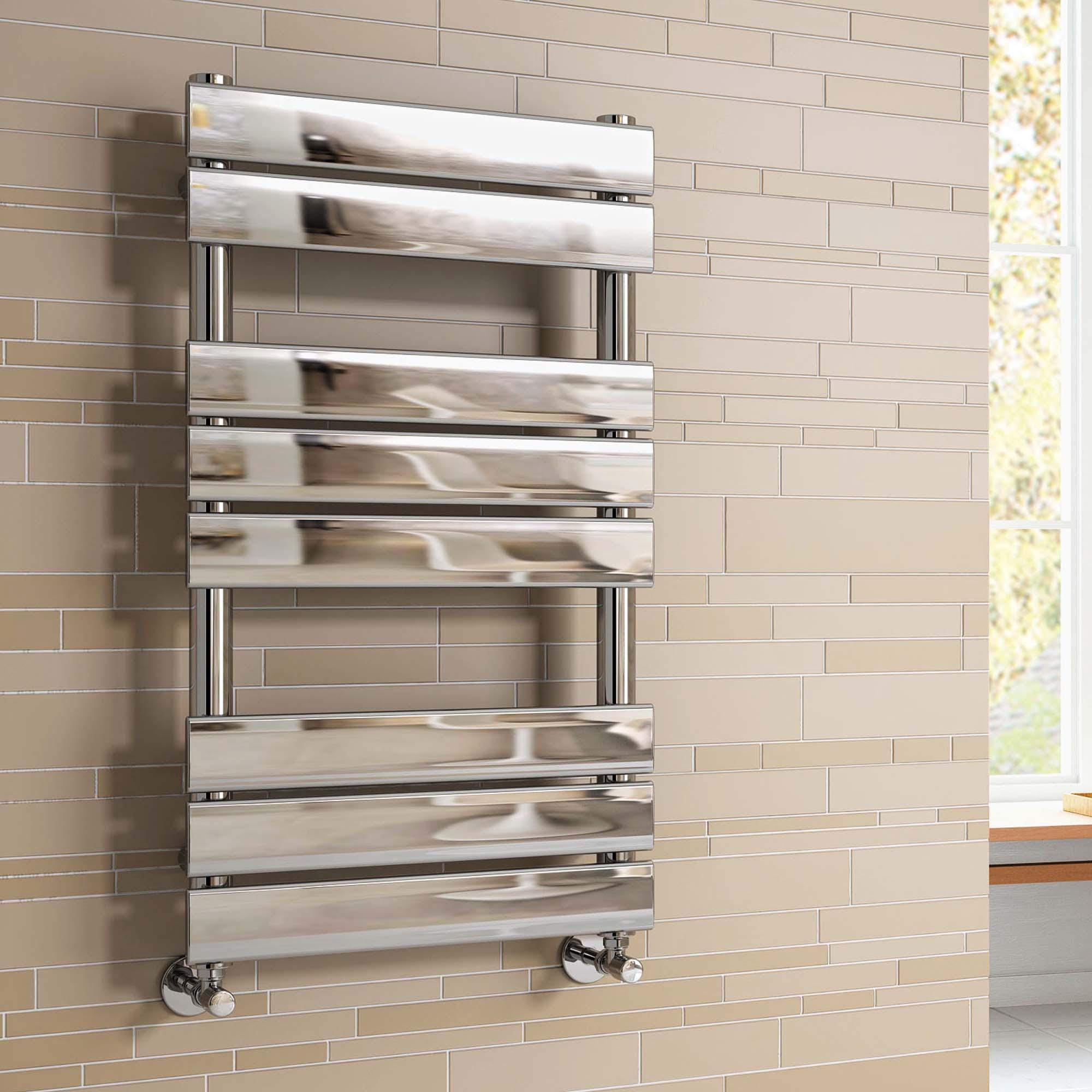 Natasha ladder rail straight modern electric towel radiator in chrome - Chrome Heated Towel Rail Bathroom Designer Radiator 800x450mm