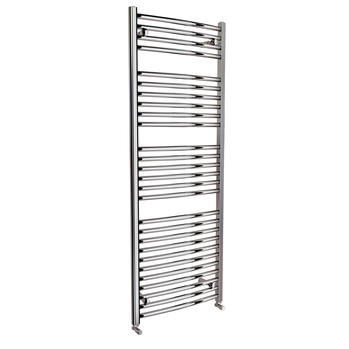 1200x600mm Chrome Curved Rail Ladder Towel Radiator - Natasha