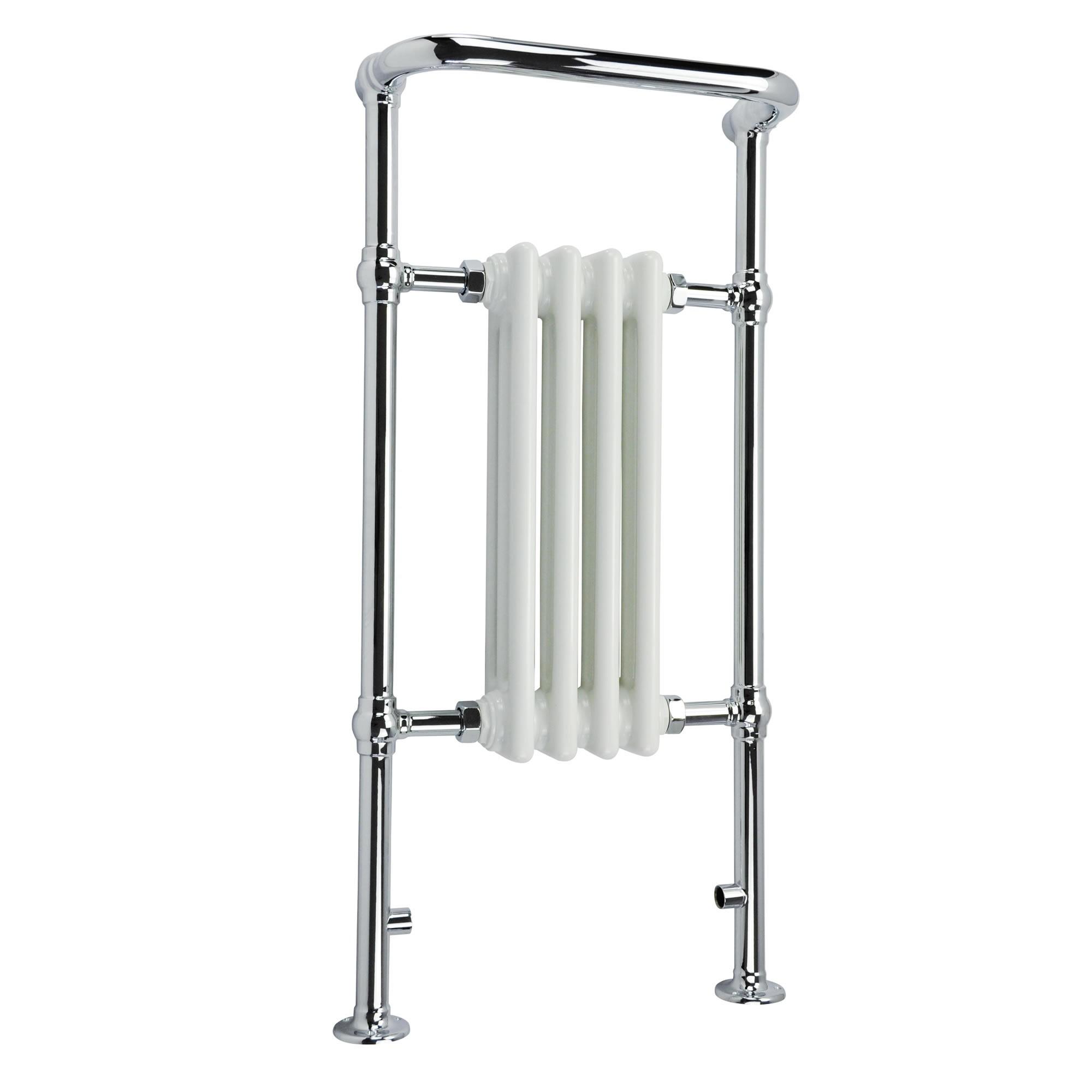Traditional Heated Towel Rail Column Radiator White: HEATED TRADITIONAL CHROME TOWEL RAIL RADIATOR RAD 420W