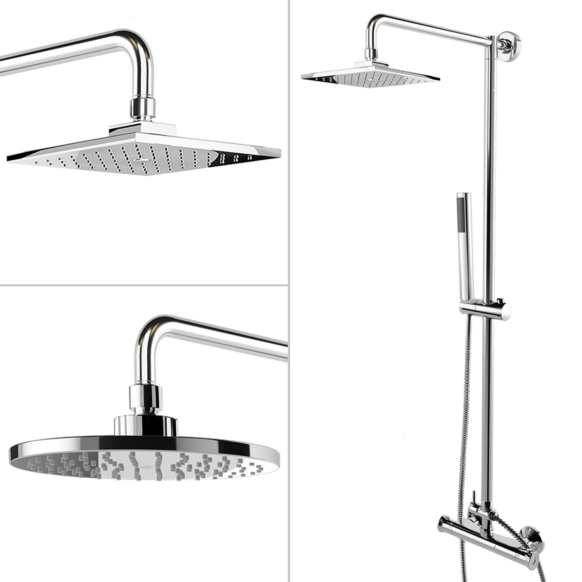 round or square twin head thermostatic shower mixer chrome bathroom bath unit ebay. Black Bedroom Furniture Sets. Home Design Ideas